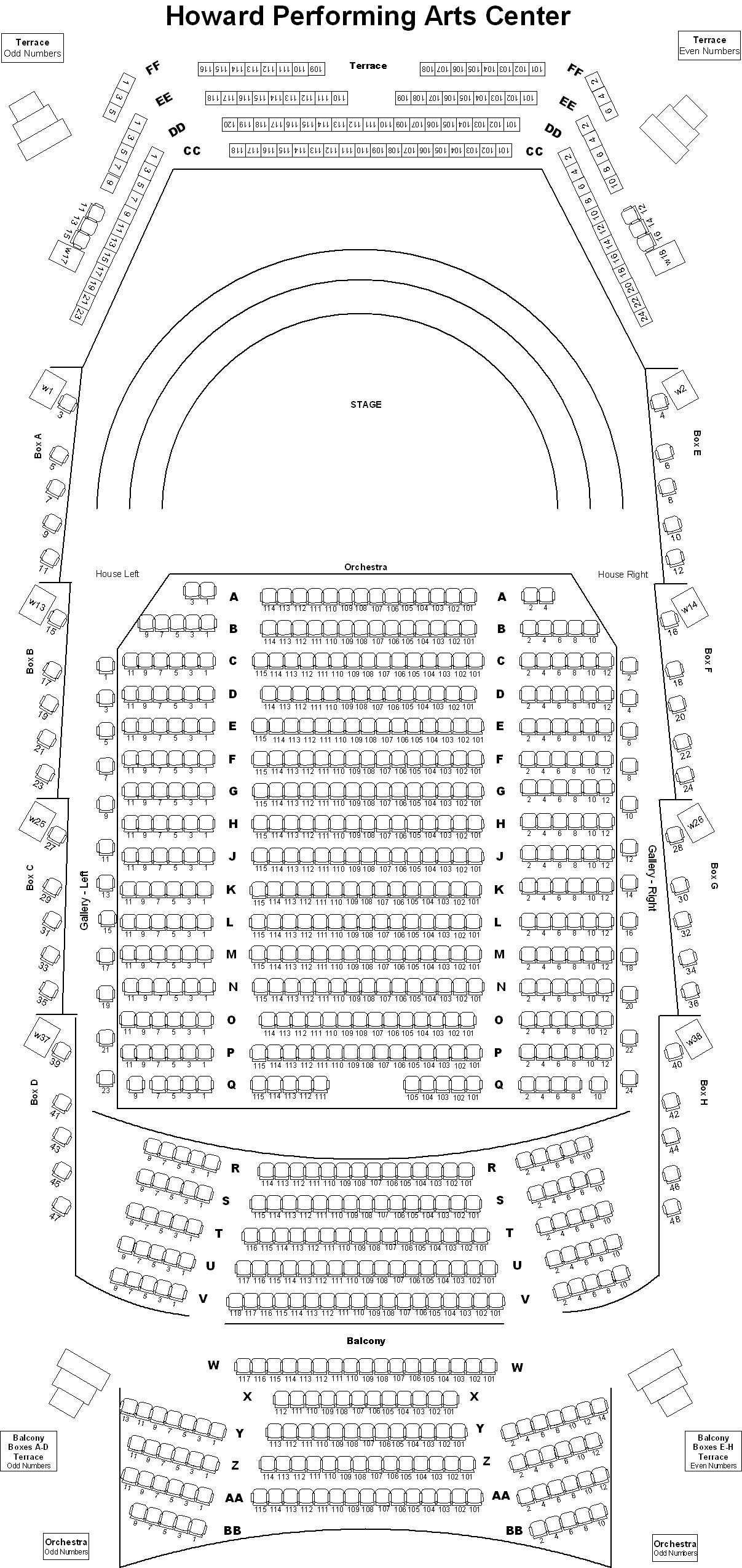 Seating Chart Howard Performing Arts Center Andrews